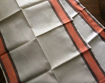 CLEARANCE **** 2 Vintage Kitchen Towels~Brown Orange Stripe on Ivory~Pure Linen~Unused New/Old Stock~Dish~Tea~Linens