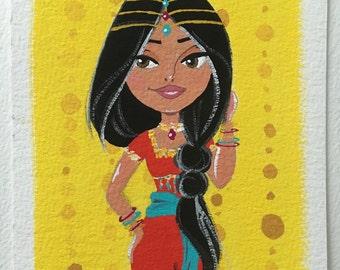 Zahra Original Gouache Painting 5x7
