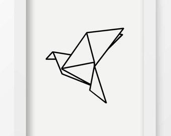 Origami Art Print, Bird Lines Wall Art, Modern Minimalist, Home Decor, Digital Art, Printable, Black and White, Geometric