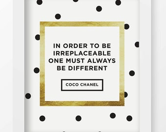 In Order To Be Irreplaceable One Must Always Be Different Wall Quote, Coco Chanel Quote, Printable, Home Decor, Modern Minimalist Art