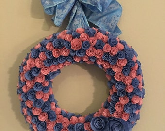 Paper flowers/Blue paper roses/rose-colored paper flowers/Serenity Blue paper flowers and Rose Quartz paper flowers wreath