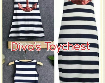 Anchor Dress-Womans Maxi-Beach Dress-Nautical Dress-Mom and Me-New England-Cover up-Woman summer maxi dress red anchor-beach cover up-summer