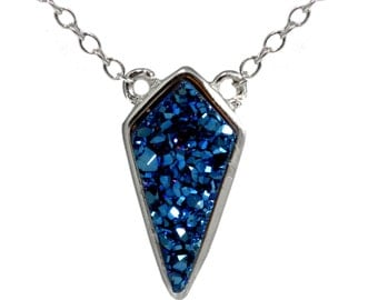 Cobalt Blue Druzy Dagger Necklace  in Sterling Silver 16'' - 18''
