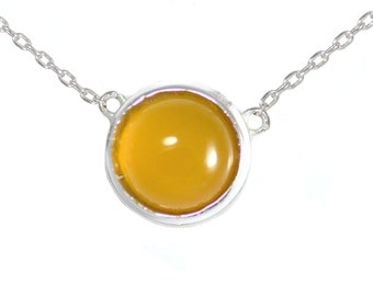 Honey Chalcedony Yellow Gemstone Coin Necklace in Sterling Silver 16'' - 18'' - Simple and Delicate