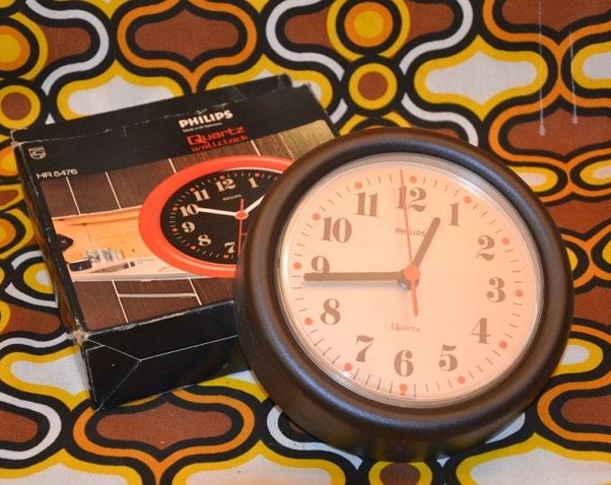 PHILIPS brown plastic seventies wall clock
