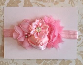 Pink 4-flower headband