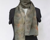 Crepe De Chine Silk Scarf Hand-dyed with Plants, Flowers, Lilies and Hibiscus, No chemical dyes or mordants