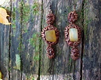 Citrine carnelian earrings