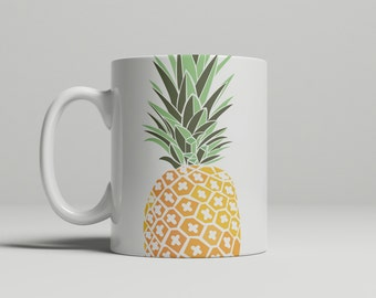 Pineapple Mug, Pineapple, Fruit mug, yellow, green, gifts for her, gifts for him, double sided image