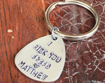I pick you daddy (heart) personalized hand stamped brass guitar pick key chain ring gift - aluminum copper or brass - Gift under 10 dollars
