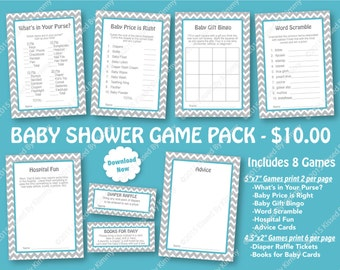 Teal Gray Baby Shower Game Pack - PRINTABLE Baby Shower Games- 8 Pack - L Gray Light Teal -Chevron Party Supplies Diaper Raffle Ticket 22-11
