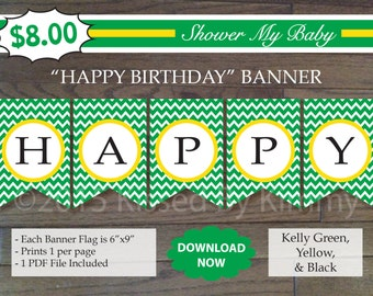 75% off SALE Green Yellow HAPPY BIRTHDAY Banner -Printable Tractor Birthday Banner- Kelly Green Yellow White-Chevron Deere Party Decorations