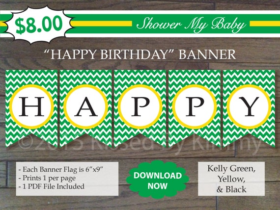 75  off sale green yellow happy birthday banner printable