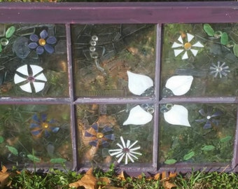 Flowers in Purple. Stained glass on glass mosaic on vintage window.