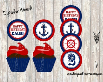 Nautical Brithday Circles- Tags, Stickers, or Cupcake Toppers