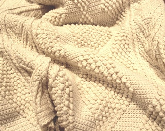 Vintage Ivory Wool Hand Knitted Blanket - Chunky Knit Irish Aran Fisherman Cable Pattern Afghan Throw