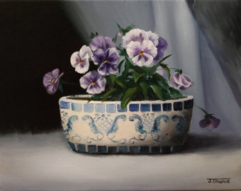 Purple Pansies, Still Life, Oil Painting, 11x14 Inch Canvas