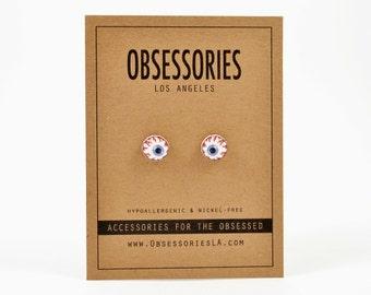 Bloodshot Eyeball Earrings Stud Earrings Post Earrings Eyeball Jewelry Eyeball Accessories Grunge Earrings 90s Earrings 90s Grunge Gift Idea