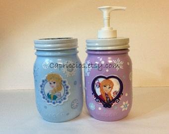 Frozen inspired bathroom decor, toothbrush holder, soap pump, Anna, Elsa, painted mason jars