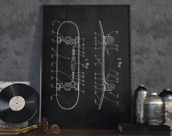 Skateboard Patent Print, Skateboard Patent Poster, Skateboad, Sport Blueprint, Patent Print, Home Decoration - DA0039