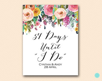 Personalized Floral, Floral Days until Wedding, Count Down to Wedding Sign, Bridal Shower Sign, Garden bridal shower decoration BS138