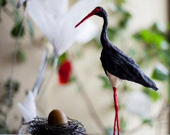 Paper Mache Art, Spring Bird Figurine, Bird Decoration, Art Deco Figurine, Black Minimalist, Bird Nest, Miniature Figure, Folk Art