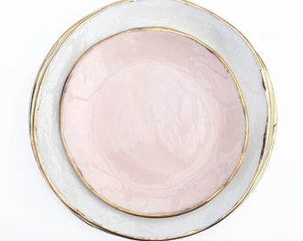 Gold Porcelain plate large- Pastel White