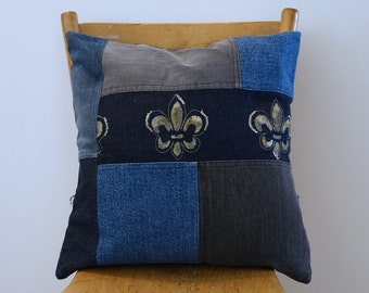 "DENiM PiLLOW COVeR - recycled jeans - decorative pillowcase - Handmade Denim Pillow - Throw pillow - upcycled denim - Fleur de Lys - 16""x16"""