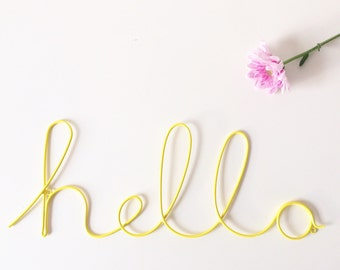 Wire 'hello' yellow wording. Decorative wall art, includes matching wall mount screws. Home, decor, kitchen, dining room, gift
