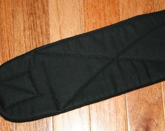 Belly Band for Male Dog Diaper, quilted for training, incontinence, marking, tapered ends - Basic Black - by angelpuppi