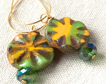 Small Earrings, yellow and green earrings Czech glass earrings floral flower earrings drop dangle earrings round gold  earrings  beaded boho