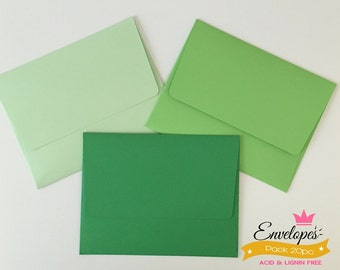 A6 Envelopes for 4 x 6 Photos and Cards, Invitations, Green, Pack of 20 / A6 envelopes for invitations Green