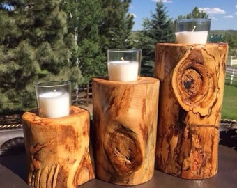 Wood Candle Holders, Tree Branch Candle Holder, Wedding Candle Holder, Rustic Candle Holders, Log Candle Holder,Bark Candle Holder,Set of 3