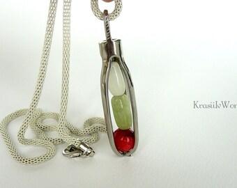 Healing crystal, Fork necklace, OOAK, Fork jewelry, Recycled jewelry, Original design, Silverware jewelry