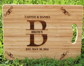 Wedding or Housewarming with Surname & Date (With Gift Tag), Engraved Personalized Cutting Board - Present, Birthday, Housewarming, Wedding