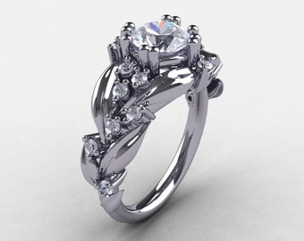 Nature Inspired 14K White Gold 1.0 Ct White Sapphire Diamond Leaf and Vine Engagement Ring R340-14KWGDWS
