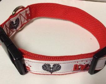 Zebra Love Valentine dog collar