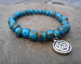 Earth Czech Glass Beaded Celtic Knot Bracelet