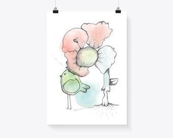 Flower & Bird Illustration Art Print