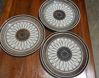 "Three 10"" dinner plates in Casa Del Sol by Royal"