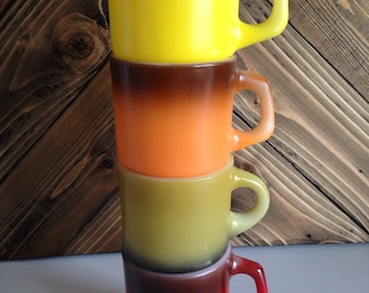 Lot of 4 Ombre Anchor Hocking Staking Fire King Mugs. Bright & Beautiful