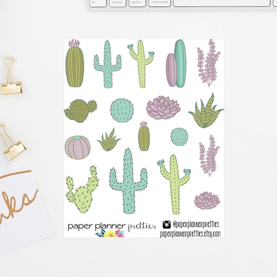 Succulent cactus cacti plant planner stickers hand drawn inkwell press livewell erin condren plum paper planner pastel tribal desert from