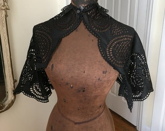 hand embroidered eyelet victorian capelet; antique needle lace