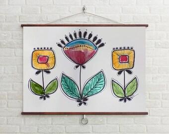 Art, Design, Mid Century Modern Inspired Art, Mid Century Floral Art, Retro Inspired Art