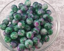 20 Green-Purple and White Watercolor Mottled Glass Beads | 10mm | 4018