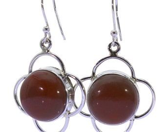 Mookaite Earrings, 925 Sterling Silver, Unique only 1 piece available! color brown, weight 10.3g, #37354