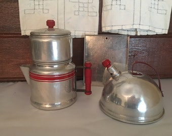 Vintage 1940's Kitchen Playset, Aluminum Baking Sheet, Aluminum Coffee Percolator, Aluminum Teapot, Vintage Kitchen Decor