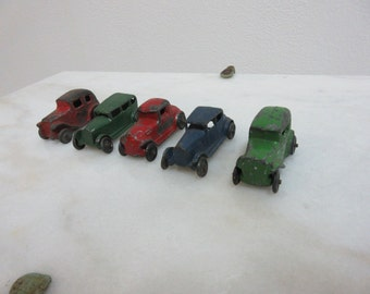 Rare Antique 5 Piece Tootsie Toy Hubley ? Assorted Diecast Toys Cars 1930s