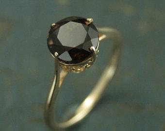 Smoky Quartz Cocktail Ring--10K Yellow Gold Ring--NSEW Prong Setting--Filigree Setting--8mm Smokey Quartz--Birthstone Ring--Statement Ring
