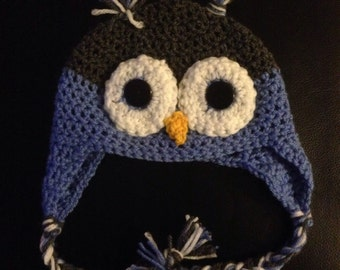 Owl Beanie 0-12 months -Made to Order